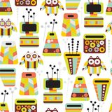 Beautiful pattern with owls and vases. Royalty Free Stock Image