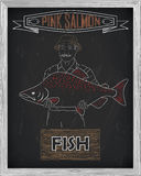 Beautiful pattern of pink salmon. Fisherman with a drawing of wh. Beautiful pattern ofpink salmon. Fisherman with a drawing of white on a black background Stock Photo