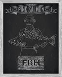 Beautiful pattern of pink salmon.. Beautiful pattern ofpink salmon. Fisherman with a drawing of white on a black background Royalty Free Stock Photo