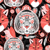 Beautiful pattern  portraits of tigers and foxes Royalty Free Stock Images