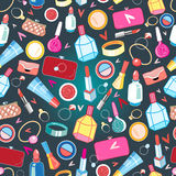 Beautiful pattern of rings and cosmetics Royalty Free Stock Photography