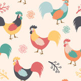 Beautiful pattern with roosters, branches and flowers on background. Vector illustration Royalty Free Stock Photos