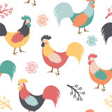 Beautiful pattern with roosters, branches and flowers on white background. Vector illustration Stock Photos