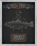 Beautiful pattern of salmon trout. Fisherman with a drawing of w. Hite on a black background Stock Photos