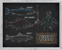 Beautiful pattern of salmon, trout and pink salmon. Fisherman wi. Th a spinning coil with a drawing of white on a black background Stock Photo