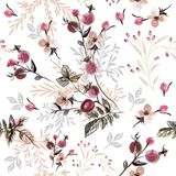 Beautiful pattern with wild rose berries and leafs Stock Photo
