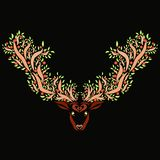 Beautiful patterned deer with horns of trees.  Royalty Free Stock Image