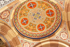 Beautiful patterns on the ceiling in the church of  Chernivtsi University. Western Ukraine, Europe Royalty Free Stock Photos