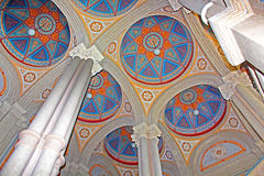 Beautiful patterns on the ceiling and colonnade in Chernivtsi University, Western Ukraine. Europe Royalty Free Stock Photos