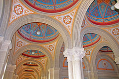 Beautiful patterns on the ceiling and colonnade in Chernivtsi University, Western Ukraine. Europe Royalty Free Stock Images