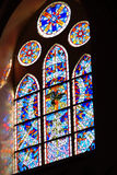 Beautiful patterns from the glass. In the church Stock Photo