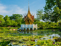 Beautiful pavilion in the pond. Aisawan is Thai stlye pavilion use for Royalty Stock Photography