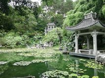 beautiful pavilions and lakes in mountains royalty free stock images