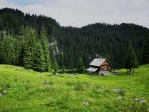 Beautiful and peaceful alpine landscape in slovenia stock photography