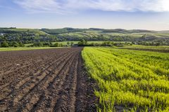 Beautiful peaceful spring wide panorama of plowed and green fields lit by morning sun stretching to horizon under clear sky on dis. Tant hills and village royalty free stock images