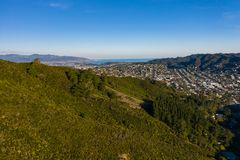 Hills of Karori With Wellington City In The Distance stock image