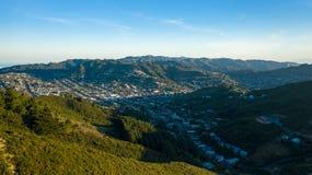 Wide view of Karori Neighborhood In Wellington New Zealand stock image
