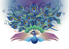 Beautiful Peacock in decorative style Stock Images