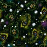 Beautiful  peacock feathers and diamonds seamless pattern Royalty Free Stock Photos