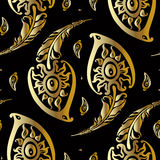 Beautiful peacock feathers. Gold pattern. Royalty Free Stock Photo