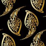 Beautiful peacock feathers. Gold pattern. Stock Photo