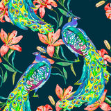 Beautiful peacock pattern.Vector. Peacocks and lily. Royalty Free Stock Images