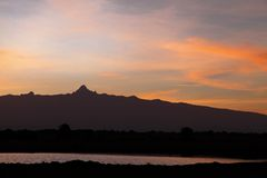Beautiful peak of Mount Kenya at  Ol Pejeta Conservancy. Beautiful sunrise view at Ol Pejeta Conservancy Royalty Free Stock Images