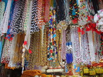 Beautiful pearl necklace at street market. In India Royalty Free Stock Image