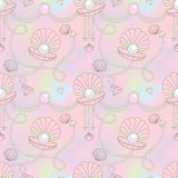 Beautiful pearl shell seamless pattern in rainbow background. Beautiful pearl shell seamless pattern in rainbow background and decorated with beautiful jewelry Vector Illustration