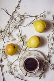 Beautiful pears with coffee Royalty Free Stock Photography