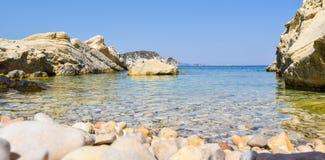 Marathias beach, Zakynthos Island, Greece. Beautiful pebble beach of Marathias, Zakynthos Island, Greece royalty free stock photo