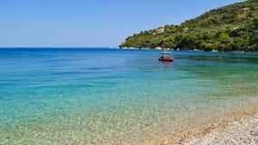 Marathias beach, Zakynthos Island, Greece. Beautiful pebble beach of Marathias, Zakynthos Island, Greece royalty free stock images