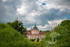 Beautiful Peles castle and ornamental garden in Lviv region in Europe.  Zolochiv castle in Ukraine. Stock Photo