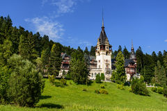 Beautiful Peles palace castle in Carpathian mountains of Romania Stock Photography