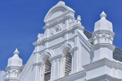 Penang Colonial Architecture - Sir Francis Light statue. Beautiful Penang Colonial Architecture building  in Malaysia with blue sky background Stock Photos