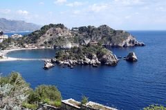 Isola Bella in Sicily. The beautiful Peninsula is located next to Taormina stock photo