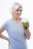 Beautiful pensioner female making a face Royalty Free Stock Photography