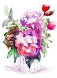 Beautiful Peonies flowers. Watercolor painting Royalty Free Stock Images