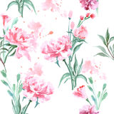 Beautiful Peonies flowers, Watercolor painting seamless pattern. Vector Royalty Free Stock Photo
