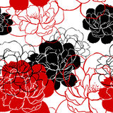 Beautiful peonies pattern - vector Royalty Free Stock Image