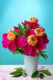 Beautiful peony bouquet in vase Royalty Free Stock Photos
