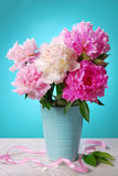 Beautiful peony bouquet in vase Stock Image