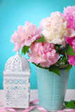Beautiful peony bouquet in vase Royalty Free Stock Image