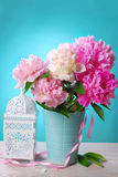 Beautiful peony bouquet in vase Stock Photography