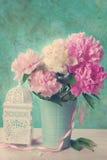 Beautiful peony bouquet in vase -vintage style Stock Photo