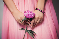 Beautiful Peony Flower in Female Hands Stock Photos
