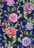 Beautiful peony flowers with buds and leaves in straight lines on deep blue background. Seamless floral pattern. Watercolor painting. Hand drawn illustration vector illustration