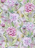 Beautiful peony flowers with buds and leaves in straight lines on light gray background. Seamless floral pattern. Watercolor painting. Hand drawn illustration Stock Images