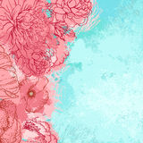 Beautiful peony grunge design Royalty Free Stock Photo