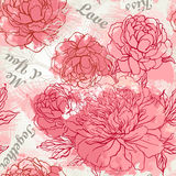 Beautiful peony seamless pattern design Stock Image